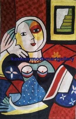 picasoo silk Wall art rug: modern Living room by kashmir modernart gallery