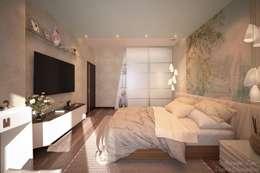 غرفة نوم تنفيذ Студия интерьерного дизайна Дарьи Шамардиной и Александра Зуева