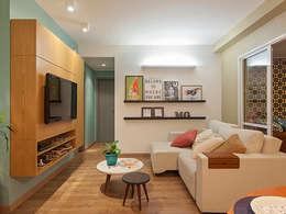 غرفة المعيشة تنفيذ Isabela Bethônico Arquitetura