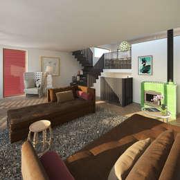 Vis: moderne Woonkamer door M&M Watervilla