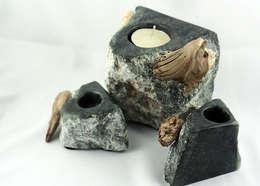 Decoration and utilities handmade of soapstone // Gebrauchskunst aus Speckstein, Treibholz u.a. Naturmaterialien: ausgefallene Esszimmer von StoneSoftArt