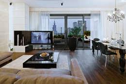 Salon z widokiem na Pałac Kultury: styl , w kategorii Salon zaprojektowany przez living box