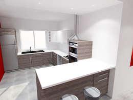 Vue 3D cuisine ouverte:  de style  par Pauline VIDAL - Architecte d'Intérieur CFAI