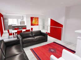 Vue 3D cuisine ouverte sur séjour:  de style  par Pauline VIDAL - Architecte d'Intérieur CFAI