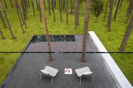 Dom B w Warszawie: styl , w kategorii Taras zaprojektowany przez Ingarden & Ewý Architekci