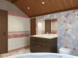 Ванная 2 этаж, Стиль элементы шале: Ванные комнаты в . Автор – Универсальная история