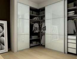 ddonmez – Parlak Beyaz Raylı Dolap Land.: modern tarz Giyinme Odası