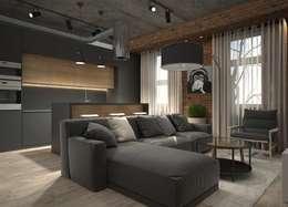 Квартира-студия для холостяка: Гостиная в . Автор – Elena Arsentyeva