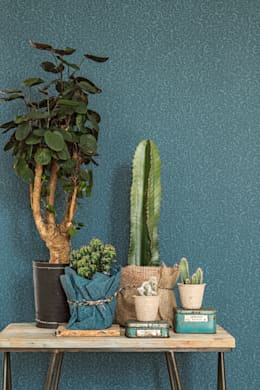 Wallpaper Denim: mediterrane Woonkamer door BN International