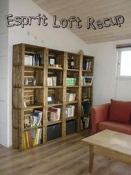 bibliotheque sur mesure: Salon de style de style eclectique par Esprit loft recup