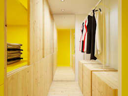 Vestidores y closets de estilo escandinavo por POINT. ARCHITECTS