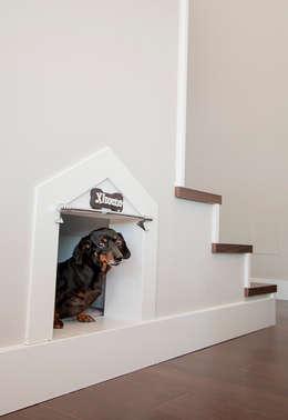 Escaleras con hueco para caseta de perro: Pasillos y vestíbulos de estilo  de Canexel
