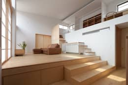 Salas / recibidores de estilo  por 株式会社 井川建築設計事務所