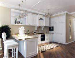 Квартира с элементами прованса: Кухни в . Автор – Дизайн студия 'Чехова и Компания'