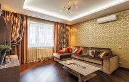Уютная квартира в теплых  тонах: Гостиная в . Автор – Ольга Макарова (Экодизайн)