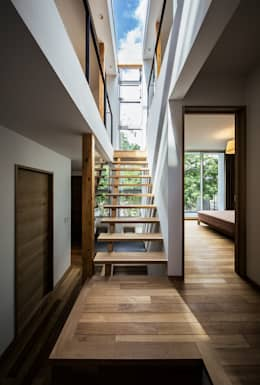 クレバスハウス クレバスをイメージした階段ホール: 株式会社seki.designが手掛けた玄関/廊下/階段です。