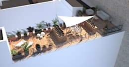 Vue aérienne de la terrasse projetée: Terrasse de style  par RM Architecte