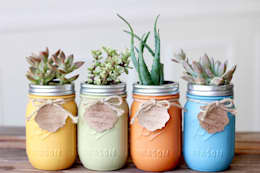 Mason Jar planten:  Binnenbeplanting door Mason Jar Kitchen