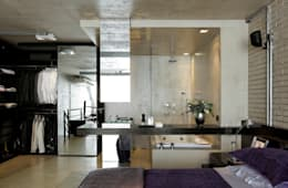 Industrial Loft: Banheiros industriais por DIEGO REVOLLO ARQUITETURA S/S LTDA.