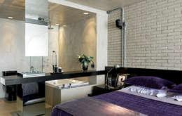 Dormitorios de estilo industrial por DIEGO REVOLLO ARQUITETURA S/S LTDA.