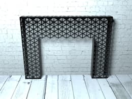 Black geometric console table or side table: modern Living room by Laser cut Furniture & Screens