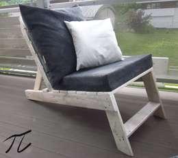 Leżak paletowy: styl , w kategorii Balkon, weranda i taras zaprojektowany przez Palletideas