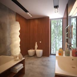 ДОМ В ПОСЕЛКЕ ПОЛИВАНОВО (визуализация): Ванные комнаты в . Автор –  Aleksandr Zhydkov Architect
