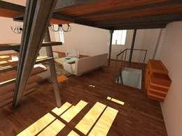 L'accès au sous sol: Salon de style de style Industriel par Reinvente Ta Maison