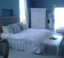 Schlafzimmer landhausstil blau  Schlafzimmerfarben