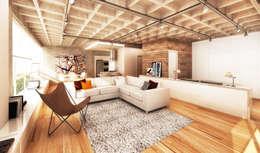 Projekty,  Salon zaprojektowane przez Boa Arquitetura