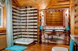 Дом из сруба, Ново-Рижское шоссе: Ванные комнаты в . Автор – Amazing Studio Светланы Панариной