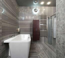Пол и стены - керамический гранит 1200 х 600: Ванная комната в . Автор – Baydyuk Design Company