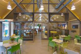 Duincafé met op de achtergrond pui met vitrines tbv opgezette dieren:  Exhibitieruimten door BBHD architecten