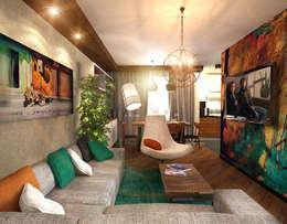 Гостиная 1: Гостиная в . Автор – Inna Katyrina & 'A-LITTLE-GREEN' studio interiors