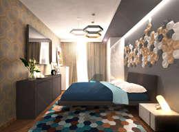Спальня 2: Спальни в . Автор – Inna Katyrina & 'A-LITTLE-GREEN' studio interiors