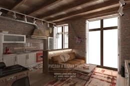 Дизайн гостиной в стиле лофт: Гостиная в . Автор – Студия дизайна интерьера Руслана и Марии Грин