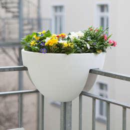 eckling: Der Blumenkasten für die Geländerecke: moderner Balkon, Veranda & Terrasse von studio michael hilgers