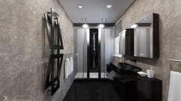 Современный монохром в таунхаусе: Ванные комнаты в . Автор – Константин Паевский-PAEVSKIYDESIGN