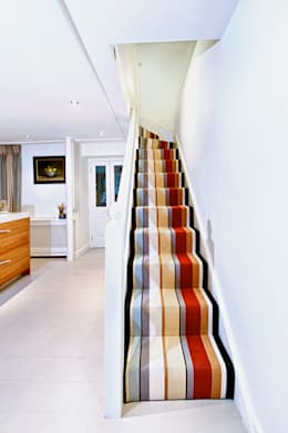 Stunning stripy stairs : modern Corridor, hallway & stairs by Warp & Weft (uk) Ltd