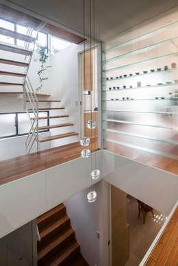 緑あふれるアトリエのある家: 設計事務所アーキプレイスが手掛けた廊下 & 玄関です。