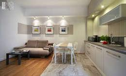Kuchnia otwarta na salon: styl , w kategorii Kuchnia zaprojektowany przez Pracownia projektowa artMOKO