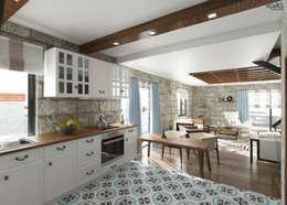 Cucina in stile in stile Mediterraneo di ROAS ARCHITECTURE 3D DESIGN