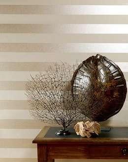 paredes y suelos de estilo moderno de tapetenstudiode - Papel Pintado Rayas Horizontales