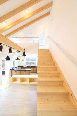 입체적 거실-주방-다락: 주택설계전문 디자인그룹 홈스타일토토의  거실