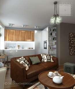 Квартира в Подмосковье 55 м²: Гостиная в . Автор – Orlova Home Design