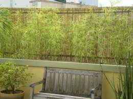 Cercas e painéis de bambu para áreas internas e externas.: Jardins rústicos por Bambu Rei Eco-Design