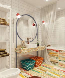 Микс фактуры и цвета: Ванные комнаты в . Автор – Девятайкина Софья ( АРТ-мастерская 'Stylishdesign')