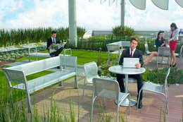 Torre Murano. Edificio corporativo con Azotea Verde de 700 m2 para los usuarios del edificio.: Terrazas de estilo  por Azoteas Verdes