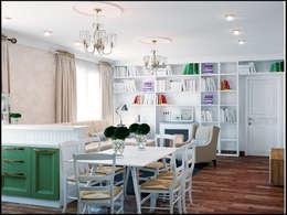 Проект совмещенного помещения столовая,кухня гостиная. Частная квартира Екатеринбург : Столовые комнаты в . Автор – Девятайкина Софья ( АРТ-мастерская 'Stylishdesign')