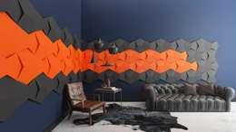 Panele Chain zaaranżowane na ścianie. : styl , w kategorii  zaprojektowany przez FLUFFO fabryka miękkich ścian